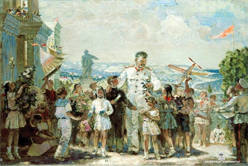 И.Н. Шульга «Сталин приехал к пионерам». 1950-е.